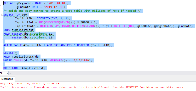 Implicit Conversion Fail | SQL RNNR